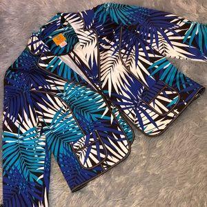 Ruby Rd Leaf Printed Blazer w/ Pockets